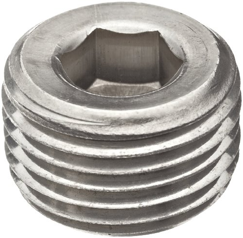 Merit Brass 618B-08 Stainless Steel 316 Pipe Fitting, Hex Countersunk Plug, Class 1000, 1/2'' NPT Male (Pack of 25) by Merit Brass