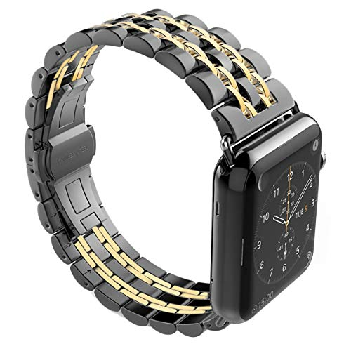 YOUTIME Bands Compatible with iWatch 42mm 44mm, Premium Metal Link Bracelet Accessories Replacement Bands for iWatch Series 4/3/2/1 (Black Gold, ()