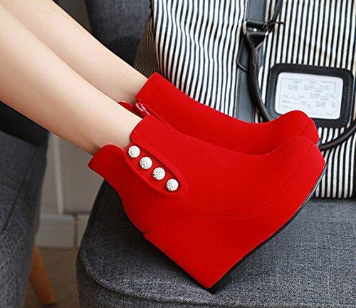 Aisun Femmes Mignon Strass Bout Rond Côté Fermeture À Glissière Plate-forme Talons Hauts Coin Chaussures Chaussures Rouge