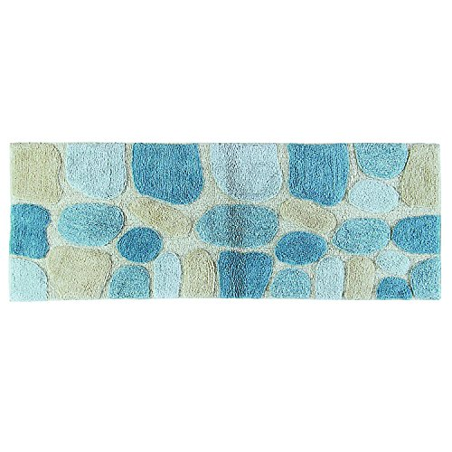 Tufted Rug Floor Mat (Chesapeake Merchandising Pebbles Cotton 24 in x 60 in Bath Runner, Aquamarine)