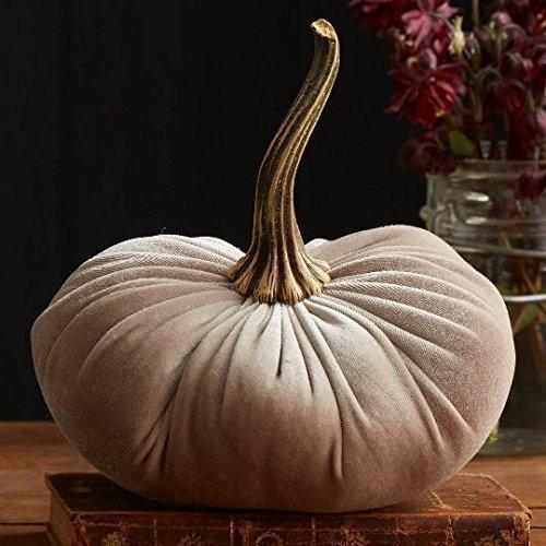 Large Velvet Pumpkin Taupe, Handmade Home Decor, Wedding, Holiday Mantle Decor, Centerpiece, Fall, Halloween, Thanksgiving -