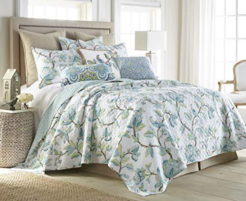 Levtex Home Cressida King Quilt Set, Floral, Reversible, 100% Cotton, Teal