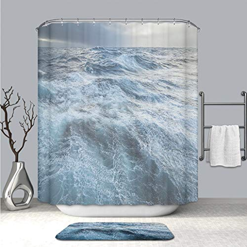 BEICICI Custom Colorful Life Shower Curtain and Bath mat Stormy Drake Passage Waterproof Polyester Shower Curtain and Floor Mat Combination - Drake Set Canister