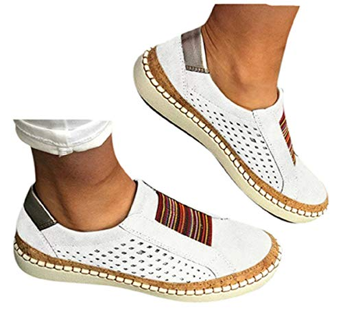 Womens Flat Shoes Slip On Shoes Flat Sneakers Running Sports Shoes Hollow-Out Round Toe Business Shoes by Gyouanime White