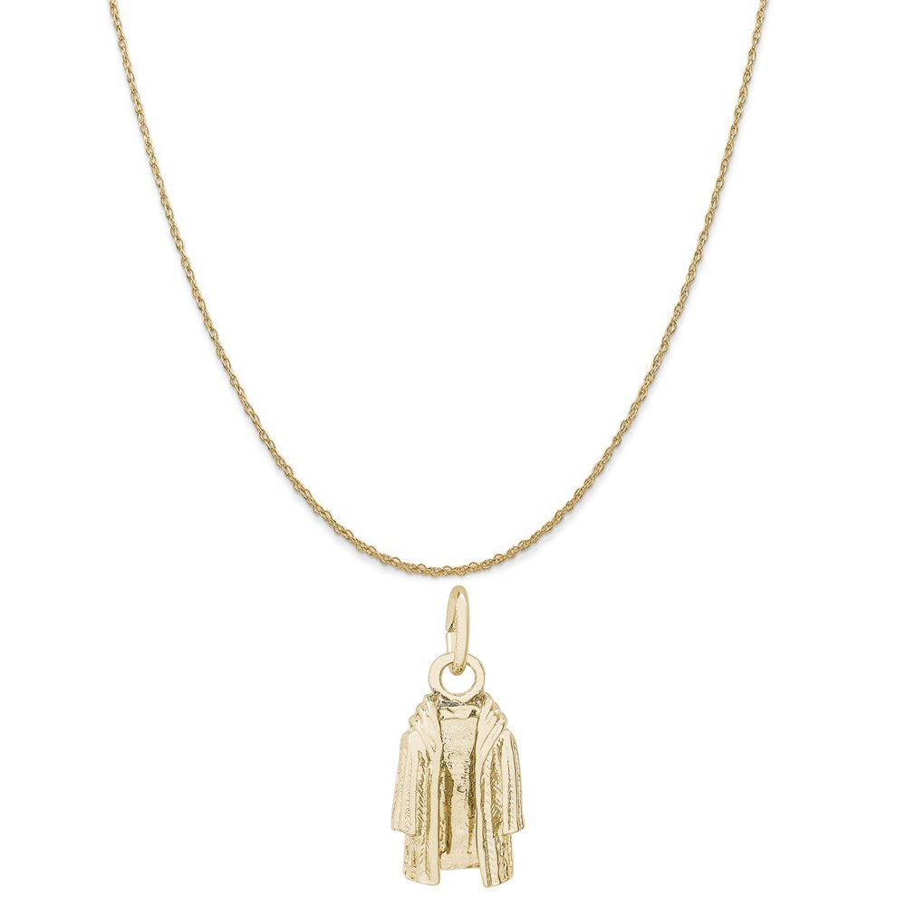 Rembrandt Charms 14K Yellow Gold Fur Coat Charm on a 14K Yellow Gold Rope Chain Necklace, 20''
