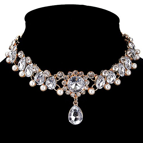 CrazyPiercing Fashion Womens Pearl Collar Crystal Diamond Chunky Choker Pendant Bib Necklace Gold ()