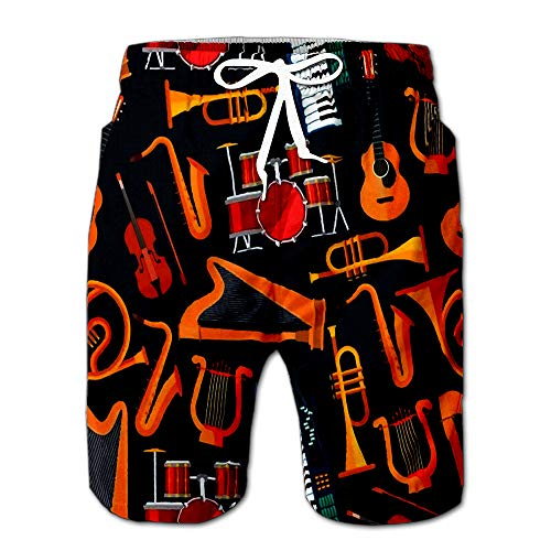 String and Percussion Brass Keyboard Flat Musical Instruments with Saxophones Drawstring Shorts Beach Baskestball Pants S