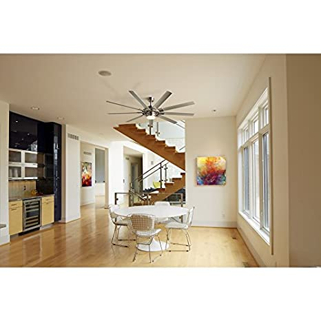 Fanimation studio collection slinger v2 72 in brushed nickel downrod fanimation studio collection slinger v2 72 in brushed nickel downrod mount indooroutdoor ceiling fan with led light kit and remote control 9 blade energy mozeypictures Images