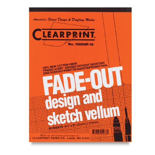 Clearprint 1000H Design Vellum Pad with Printed Fade-Out 10x10 Grid, 16 lb, 100% Cotton, 11 x 17 Inches, 50 Sheets, Translucent White (Clearprint 1000h Drafting Vellum)
