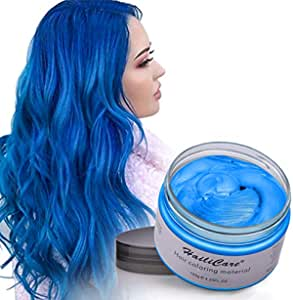 HailiCare Cera Cabello Temporal, Tinte de Pelo Desechable Profesional, Cera de Pelo Natural para Hombres y Mujeres, Fácil de Lavar/Usar 120 ml (Azul)