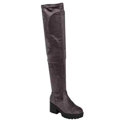 Ams FM996 Women's Over The Knee Lucite Clear Block Heel Boots