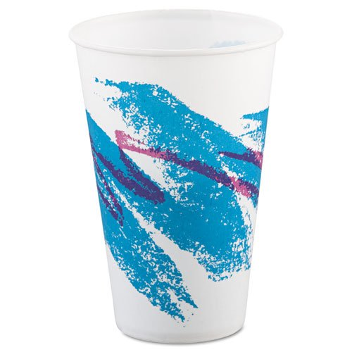 SOLO SCC R12NJ Jazz Waxed Paper Cold Cups, 12oz, Tide Design, 2000/carton