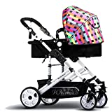 Prams/Strollers Baby Trolley High Landscape Can Lie Down Ultra-light Portable Fold 1-3 Years Old Child Baby Baby Carriage Aluminum Alloy Shocking Proof (Color : Color bar)