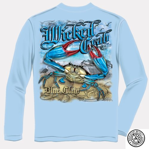 Fishing Long Sleeve Wicked Crab X-Large Light Blue