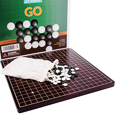 Go Board Game Set by GrowUpSmart | Ancient Chinese I-Go | Igo with Black and White Stones | Weiqi Strategy Game for Kids and Adults