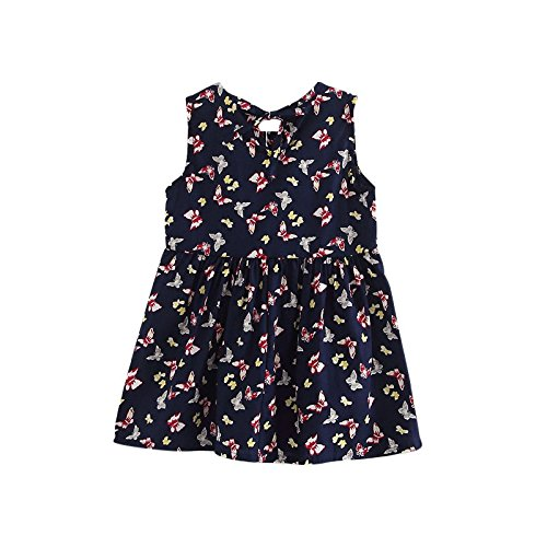 KathShop Infant Kids Girls Child A-line Dress Sleeveless Floral Printed Kid Princess Party Dance Evening Vestido 1-5Y S2