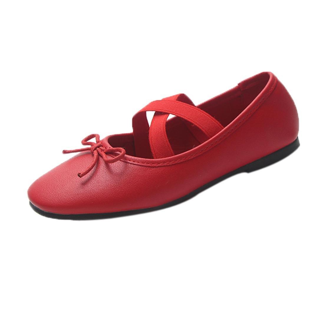 sunshinehomely女性用フラットシューズソフトバレエシューズダンスシューズヨガスニーカーレディースファッションカジュアルPeas shoesボートシューズスリップオン B07DX6RJG7 レッド US:5.5(36)