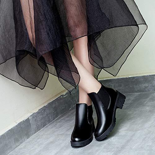 Mujer Tacon Con Negro Plataforma Mujer De Botas Cortos Invierno Moto Botines De Alto Punta Cuero Redonda Para Zapatos tSqTB6wd