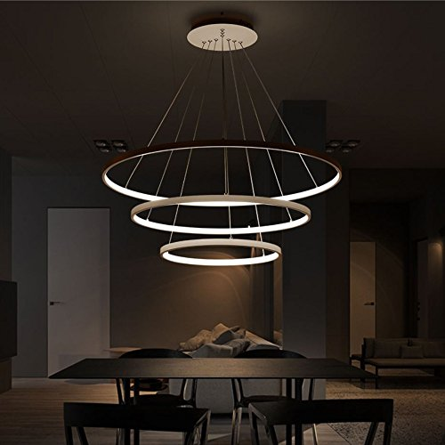 Surpars House 3 Rings LED Chandelier Modern Pendant Lamp for Living Room,Dining Room,Restaurant,Office by Surpars House