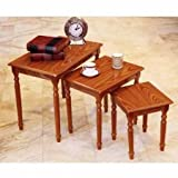 By Home Design Nesting Table Set, Living Room, Cherry Finish, 3 Piece For Sale