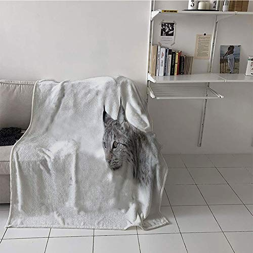 Khaki home Children's Blanket Throw Lightweight E x tra Big (70 by 90 Inch,Hunting,Lynx in The Central Norway Wild Cat North Cold Snowy Mountain Carnivore Predator,Grey White ()