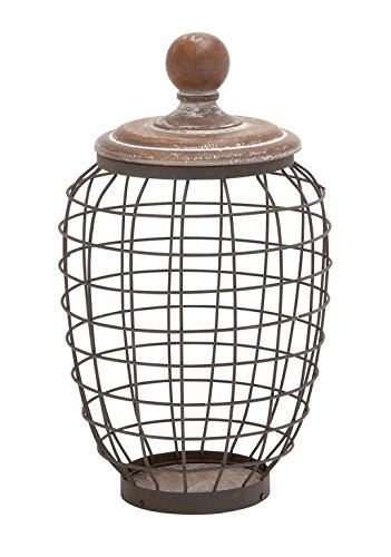 Deco 79 Metal Wood Wire Jar, 9 by (Carved Oak Finials)