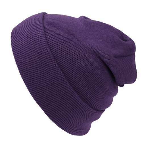 Cap911 Unisex Plain 12 inch long Beanie - Many - Purple Beanie Long
