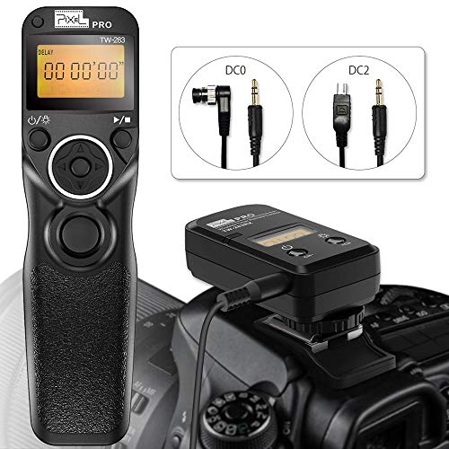 Remote Shutter Release for Nikon, Wireless Shutter Release Timer Remote Control Pixel TW-283 DC0/DC2 for Nikon D5200 D5300 D7100 D850 D800 D750 D610