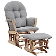 Angel Line Windsor Glider and Ottoman, Natural with Cushion, Gray