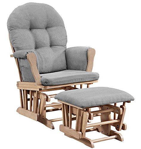 Arm Rocking Chair - Angel Line Windsor Glider and Ottoman, Natural with Cushion, Gray