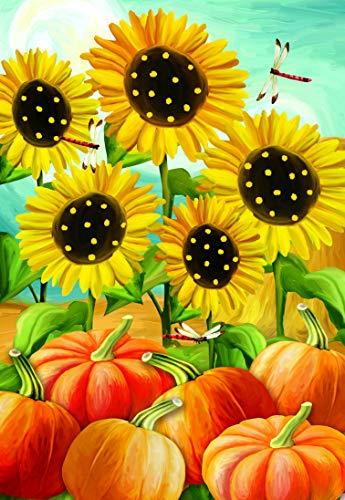 Lantern Hill Polka Dot Sunflowers, Pumpkin Patch Dragonfly Garden Flag; Double Sided Autumn Decor; 12.5 x 18 inches; Fall Seasonal Decorative Banner ()