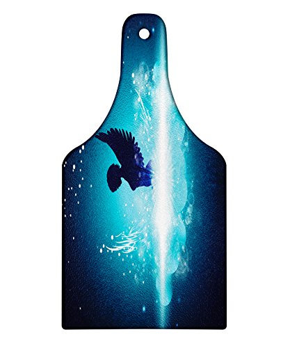 Lunarable Blue Cutting Board, Fantasy Themed Artwork with an Angel Woman Silhouette with Wings Bubbles, Decorative Tempered Glass Cutting and Serving Board, Wine Bottle Shape, Pale Blue and Dark Blue ()