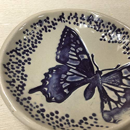 JANECKA Purple Butterfly Round Soap Dish 4.5 Inches, Ring Tray, Artisan Crafted, Pottery 9th Anniversary Gift