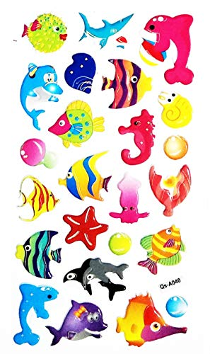 (NipitShop 1 Sheet Underwater Ocean Dolphin Fish Sea Cartoon Animals Baby Children Sticker Foam Nursery Room School Stickers for Kids Toys Birthday Card Diary Album Gifts)
