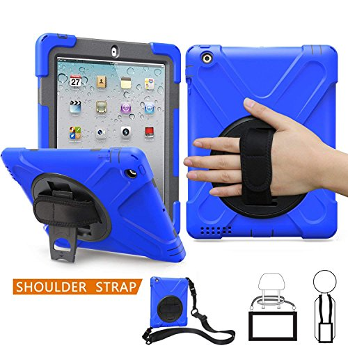 iPad 2/3 / 4 Case,TSQ Heavy Duty Hybrid Three Layer Full Body Carrying Case Cover for Kids with Handle Hand Strap,360 Degree Swivel Stand, Shoulder Strap for Apple 9.7 iPad 2nd / 3rd / 4th Gen Blue