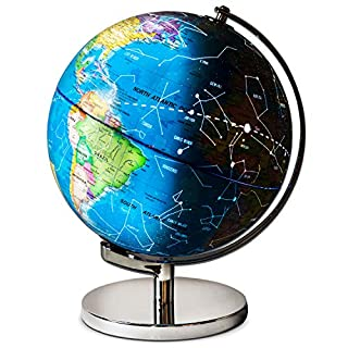 Children Illuminated Spinning World Globe with Stand Plus a Bonus Card Game. 3 in 1 Interactive Educational Desktop Earth Globe for Kids LED Night Light Lamp, Political Map and Constellation View.