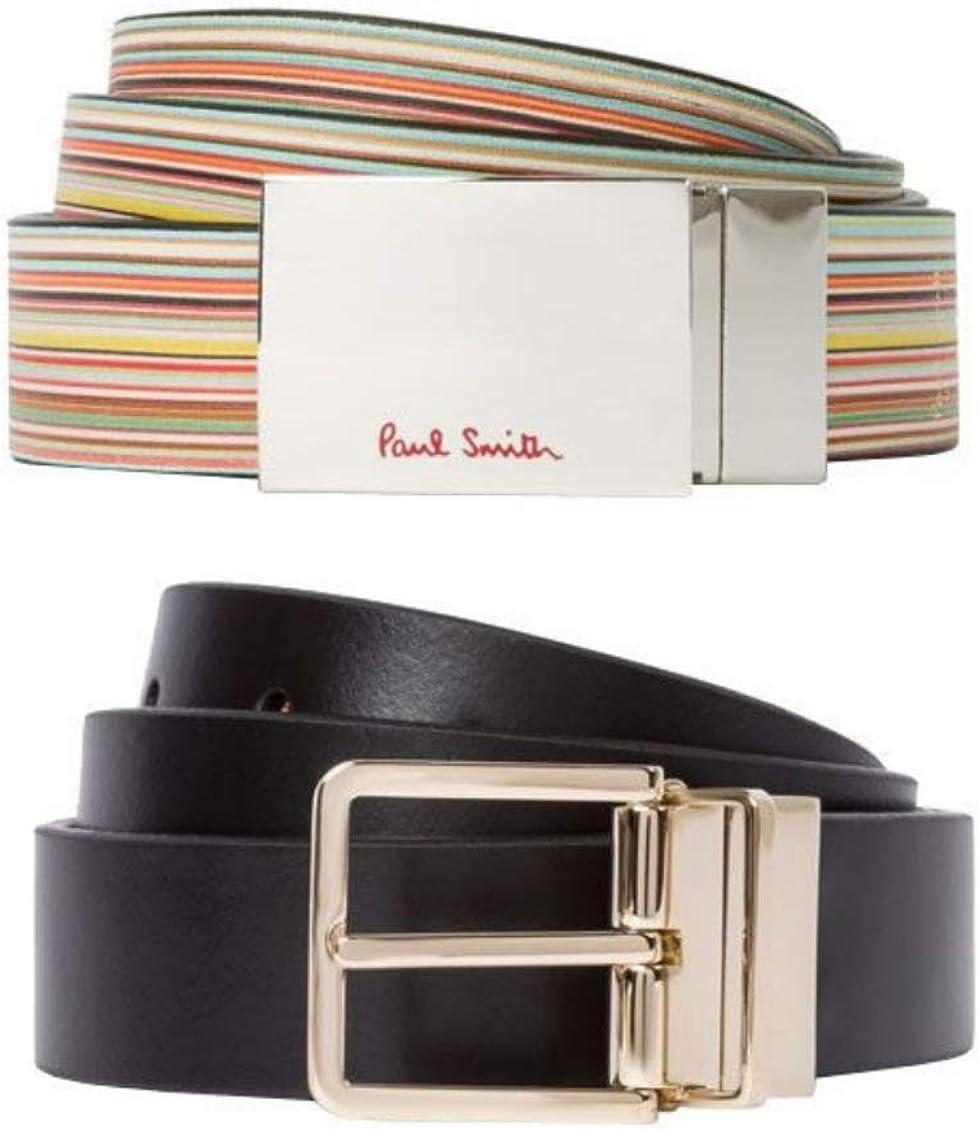 Paul Smith Men/'s Embossed Signature Stripe Leather Belt