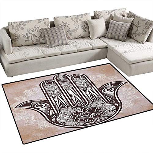 Hamsa,Carpet,Hand of Fatima Grunge Style Mandala with Evil Eye Mystic Eastern Religious Art,Rug Kid Carpet,Cream and Brown Size:36
