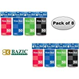 Bazic Top Bound Spiral Memo Books, 3-Inch-by-5-Inch, 50 Sheets, Pack of 8