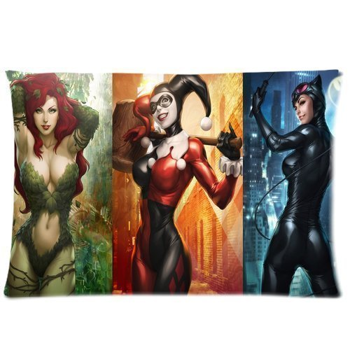 Poison Ivy Catwoman - Pillowcase Poison Ivy Catwoman Harley Quinn Two Sides Picture Printed Customize Standard Size 20x30 Zippered