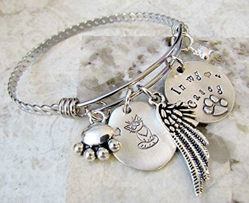 Sitting Kitty Cat Hand Stamped Silver Expandable Memorial Remembrance Bangle Bracelet - Rainbow - Sitting Cat Kitty