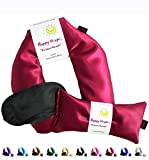 Happy Wraps Unscented Flax Seed Neck Wrap with Unscented Flax Seed Eye Pillow and Sleep Mask - Microwave or Freeze - Ruby