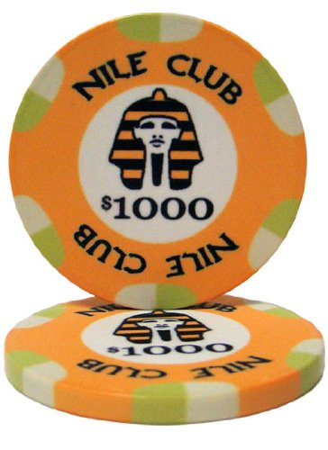 - 25 $1,000 Nile Club 10 Gram Ceramic Casino Quality Poker Chips