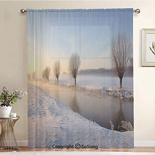 Snowy River Landscape Barren and Frosted Trees Dutch Netherlands Europe Photograph Decorative Extra Wide Sheer Window Curtain Panel for Large Window,Sliding Glass Door,Patio Door,1 panel,102 x 84 inch