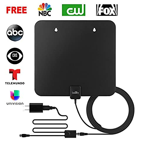 LeadTry ANT PRO HDTV Antenna, Indoor Amplified Digital TV Antenna 50 Mile Range with Detachable Amplifier Signal Booster, USB Power Supply and 10FT High Performance Coaxial (Broadcast Tv Transmitter)