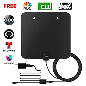 LeadTry ANT-Pro Indoor HD TV Antenna 1080P, 50-Mile Reception Rang with Signal Booster, Home Digital Television OTA Receiver, Power House DTV Amplified Air Aerial for Free Internal Local Channels