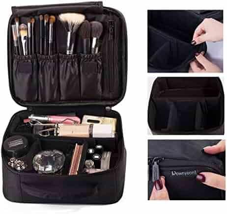 ROWNYEON Portable Makeup Bag Cosmetic Case Travel Organizer/Mini Makeup Train Case 9.8'' Makeup Artist Bag Black