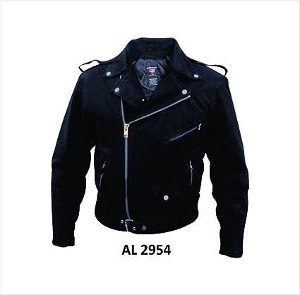 Amazon Com Mens Black Denim Basic Motorcycle Style Jacket W Half