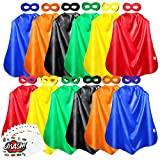 AIMIKE Superhero Capes and Masks, 12 Packs Kids DIY Dress Up Superhero Costume, with Superhero Sticker