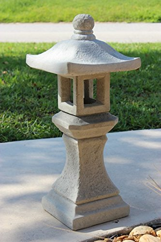 Pagoda Concrete Lantern, 3,Piece Grey/Gray Finish Outdoor Garden Statue Sale